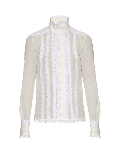 Broderie Anglaise Cotton Shirt - pattern: plain; style: shirt; predominant colour: white; occasions: casual, creative work; length: standard; neckline: collarstand; fibres: cotton - 100%; fit: body skimming; sleeve length: long sleeve; sleeve style: standard; texture group: cotton feel fabrics; pattern type: fabric; season: s/s 2016
