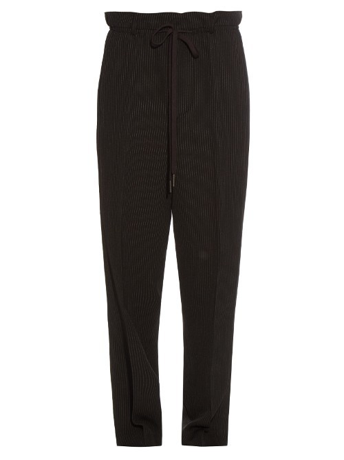 Pinstriped Dropped Crotch Trousers - pattern: vertical stripes; style: peg leg; waist: high rise; pocket detail: pockets at the sides; waist detail: belted waist/tie at waist/drawstring; predominant colour: black; occasions: casual, creative work; length: ankle length; fibres: silk - mix; fit: tapered; pattern type: fabric; texture group: other - light to midweight; pattern size: light/subtle (bottom); season: s/s 2016; wardrobe: highlight