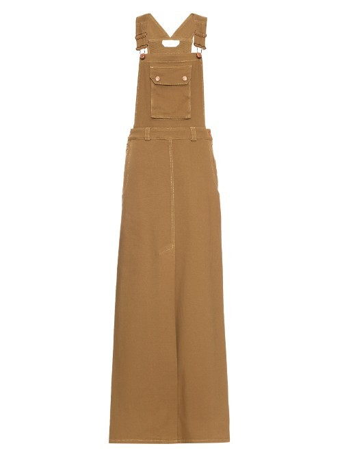 Dungarees Maxi Dress - pattern: plain; sleeve style: sleeveless; style: maxi dress; predominant colour: mustard; occasions: casual; length: floor length; fit: body skimming; fibres: viscose/rayon - stretch; sleeve length: sleeveless; texture group: denim; neckline: medium square neck; pattern type: fabric; season: s/s 2016; wardrobe: highlight