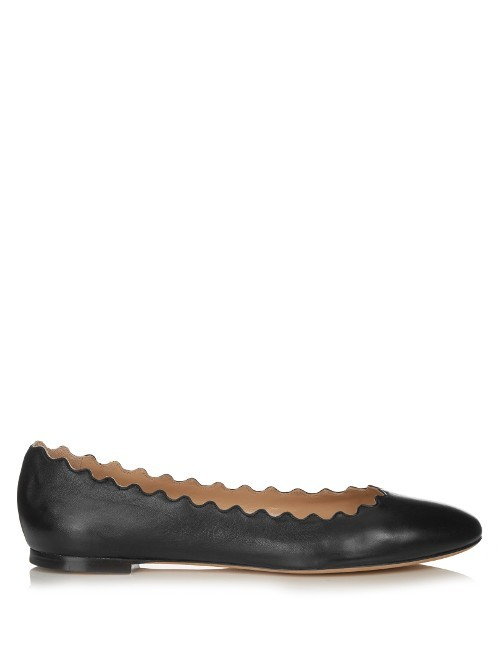 Lauren Scallop Edged Leather Flats - predominant colour: black; occasions: casual, work, creative work; material: leather; heel height: flat; toe: round toe; style: ballerinas / pumps; finish: plain; pattern: plain; season: s/s 2016; wardrobe: basic