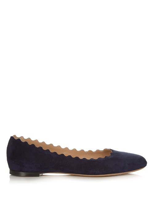 Lauren Scallop Edged Suede Flats - predominant colour: black; occasions: casual, work, creative work; material: suede; heel height: flat; toe: round toe; style: ballerinas / pumps; finish: plain; pattern: plain; season: s/s 2016; wardrobe: basic