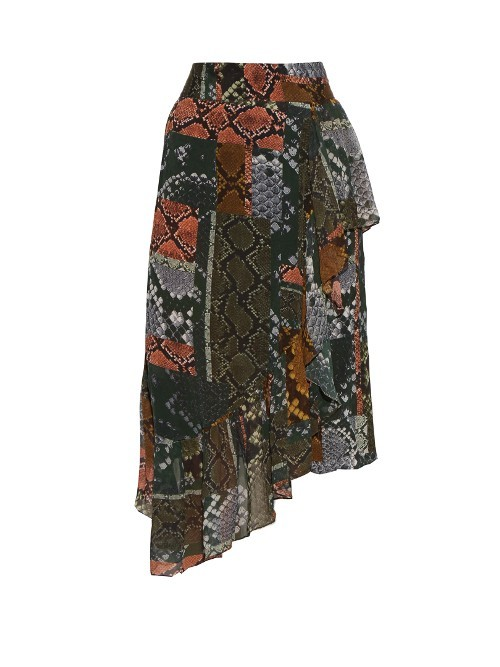 Lilly Snake Print Asymmetric Skirt - fit: loose/voluminous; waist: high rise; predominant colour: khaki; occasions: casual, creative work; length: just above the knee; style: asymmetric (hem); fibres: viscose/rayon - 100%; hip detail: adds bulk at the hips; texture group: sheer fabrics/chiffon/organza etc.; pattern type: fabric; pattern: patterned/print; pattern size: big & busy (bottom); multicoloured: multicoloured; season: s/s 2016; wardrobe: highlight