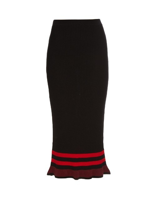 Amma Fluted Hem Midi Skirt - length: below the knee; style: pencil; fit: tailored/fitted; waist: high rise; secondary colour: true red; predominant colour: black; fibres: wool - 100%; texture group: knits/crochet; pattern type: knitted - fine stitch; occasions: creative work; pattern size: light/subtle (bottom); pattern: horizontal stripes (bottom); season: s/s 2016