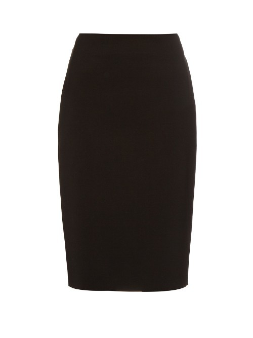 Giano Skirt - pattern: plain; style: pencil; fit: tailored/fitted; waist: high rise; hip detail: draws attention to hips; predominant colour: black; occasions: work; length: just above the knee; fibres: wool - 100%; pattern type: fabric; texture group: woven light midweight; season: s/s 2016; wardrobe: basic