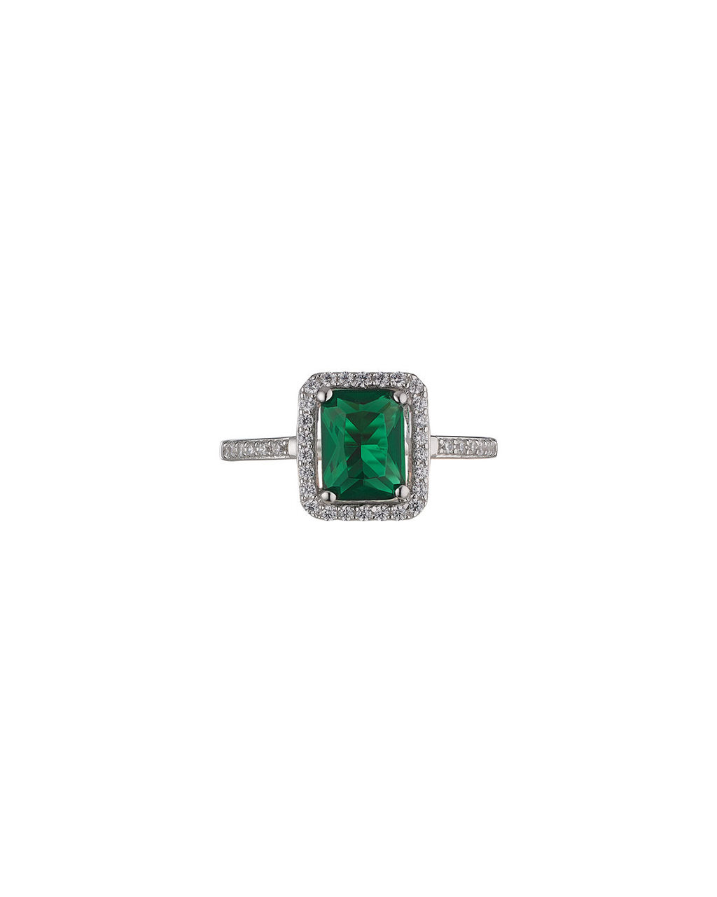 Emerald Rectangle Ring - predominant colour: emerald green; secondary colour: silver; occasions: evening; style: cocktail; size: large/oversized; material: chain/metal; finish: metallic; embellishment: crystals/glass; season: s/s 2016; wardrobe: event