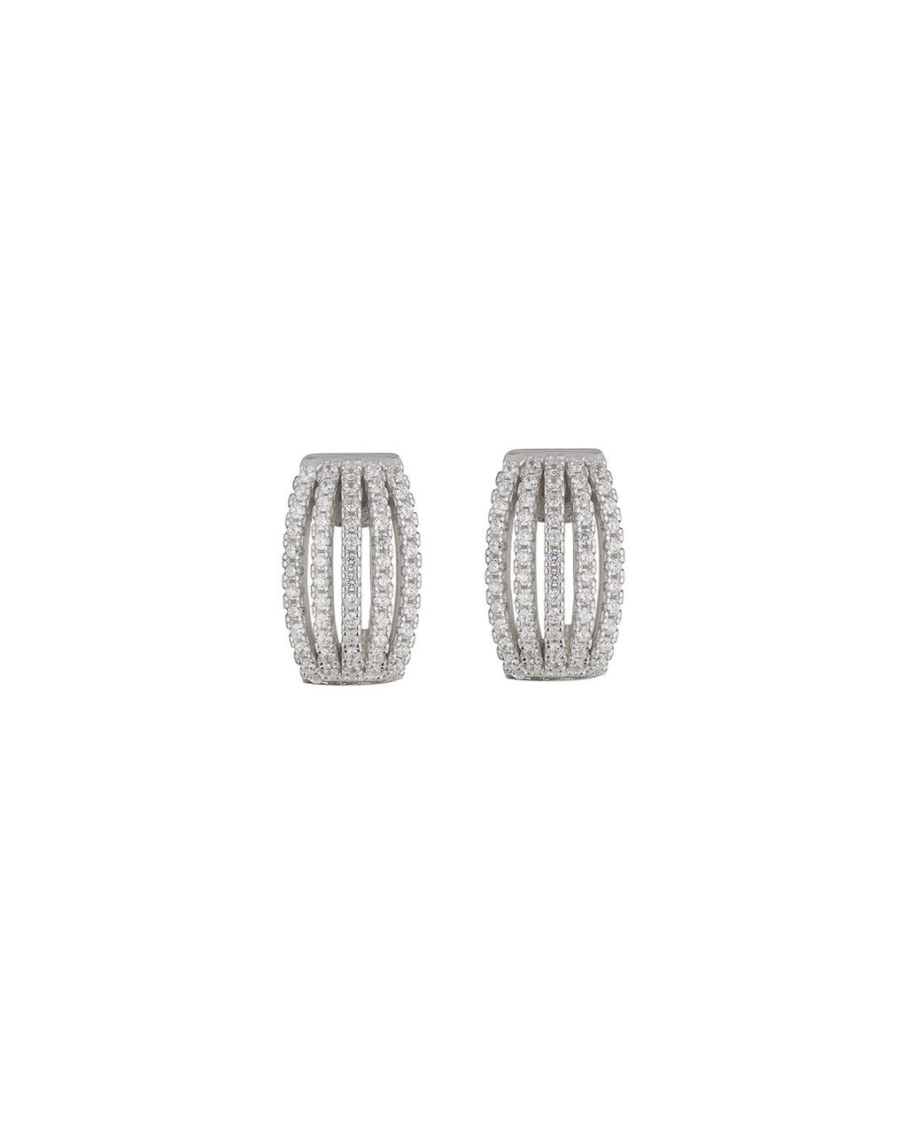 Cubic Zirconia Hoop Earring - predominant colour: silver; occasions: evening, occasion; style: stud; length: short; size: standard; material: chain/metal; fastening: pierced; finish: metallic; embellishment: chain/metal; season: s/s 2016; wardrobe: event