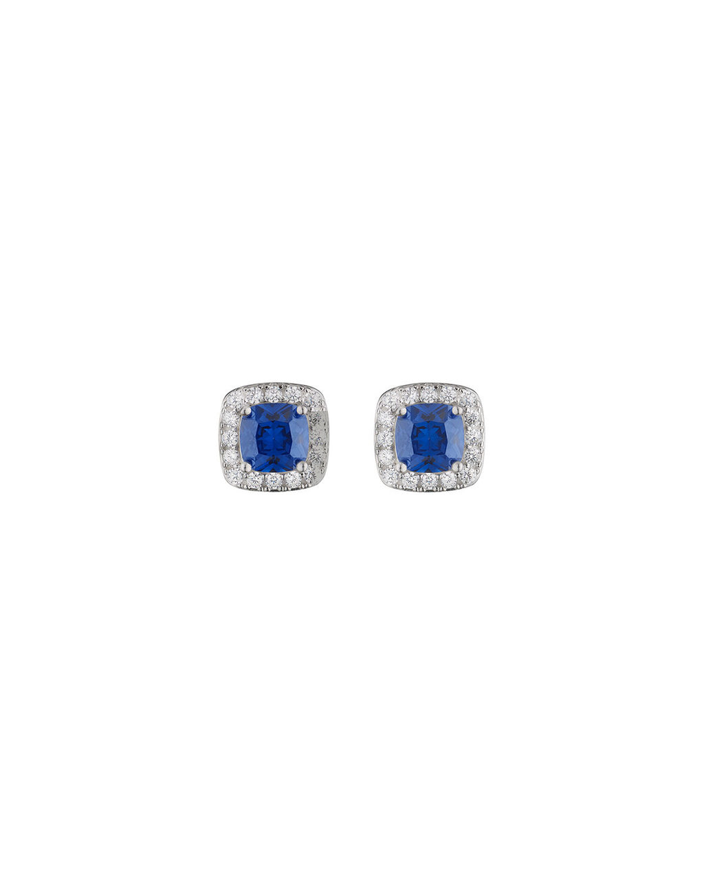 Blue Cushions Studs - predominant colour: royal blue; secondary colour: silver; occasions: evening; style: stud; length: short; size: standard; material: chain/metal; fastening: pierced; finish: metallic; embellishment: jewels/stone; season: s/s 2016; wardrobe: event