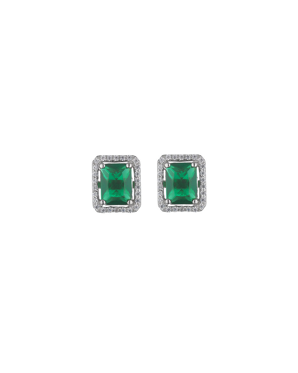 Emerald Rectangle Studs - predominant colour: emerald green; secondary colour: silver; occasions: evening, occasion; style: stud; length: short; size: standard; material: chain/metal; fastening: pierced; finish: metallic; embellishment: jewels/stone; season: s/s 2016; wardrobe: event