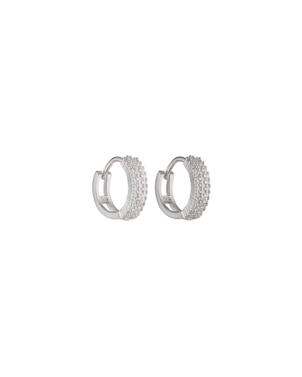 Cubic Zirconia Pave Moon Hoops - predominant colour: silver; occasions: evening, occasion; style: hoop; length: mid; size: standard; material: chain/metal; fastening: pierced; finish: metallic; embellishment: crystals/glass; season: s/s 2016; wardrobe: event