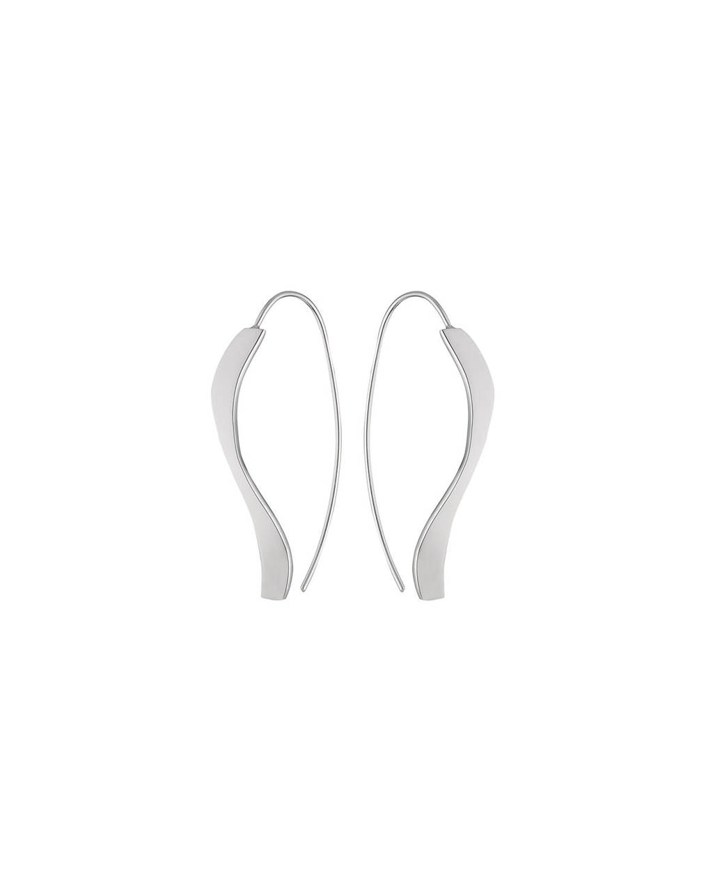 Sterling Silver Swirl Earrings - predominant colour: silver; occasions: evening, creative work; style: drop; length: long; size: large/oversized; material: chain/metal; fastening: pierced; finish: plain; season: s/s 2016; wardrobe: highlight
