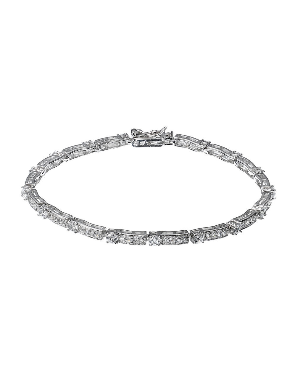 Cubic Zirconia Station Bracelet - predominant colour: silver; occasions: evening, occasion; style: chain; size: standard; material: chain/metal; finish: metallic; season: s/s 2016; wardrobe: event