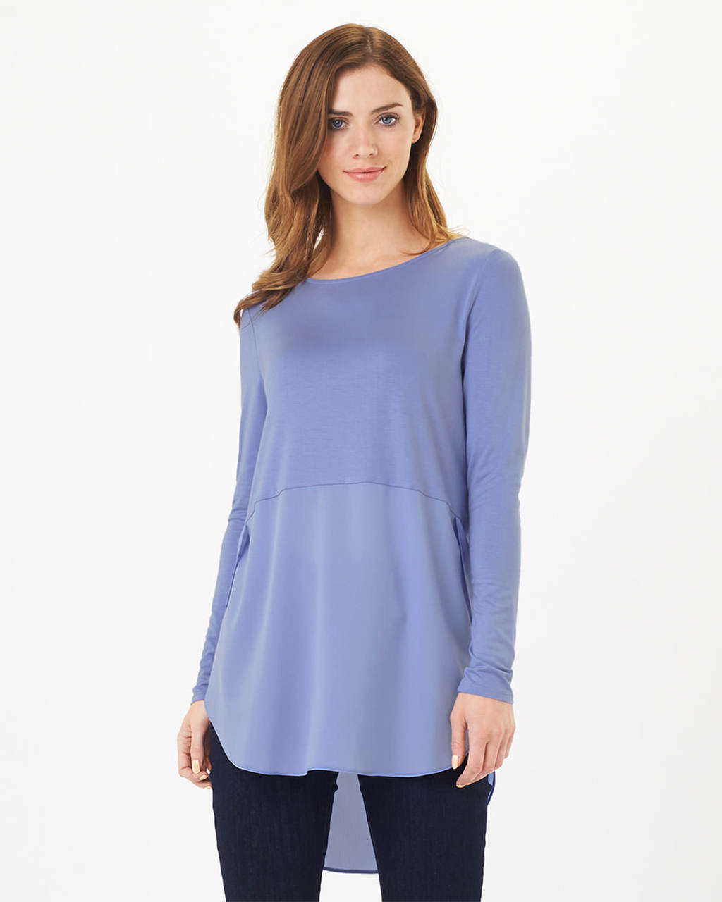 Sophia Top - pattern: plain; length: below the bottom; predominant colour: pale blue; occasions: casual; style: top; fibres: viscose/rayon - stretch; fit: loose; neckline: crew; sleeve length: long sleeve; sleeve style: standard; pattern type: fabric; texture group: jersey - stretchy/drapey; season: s/s 2016; wardrobe: highlight