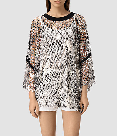 Roma Print Mesh Tee - neckline: round neck; sleeve style: angel/waterfall; length: below the bottom; style: t-shirt; predominant colour: black; occasions: casual, holiday; fibres: cotton - 100%; fit: loose; sleeve length: long sleeve; pattern type: fabric; pattern size: light/subtle; pattern: patterned/print; texture group: other - light to midweight; season: s/s 2016; wardrobe: highlight