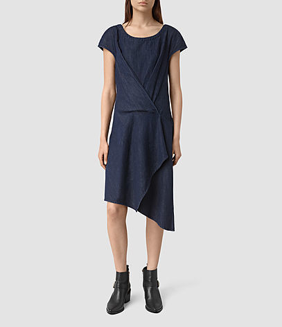 Breeze Denim Dress - neckline: round neck; pattern: plain; predominant colour: navy; occasions: casual, creative work; length: on the knee; fit: soft a-line; style: asymmetric (hem); fibres: cotton - 100%; sleeve length: short sleeve; sleeve style: standard; texture group: cotton feel fabrics; pattern type: fabric; season: s/s 2016; wardrobe: basic
