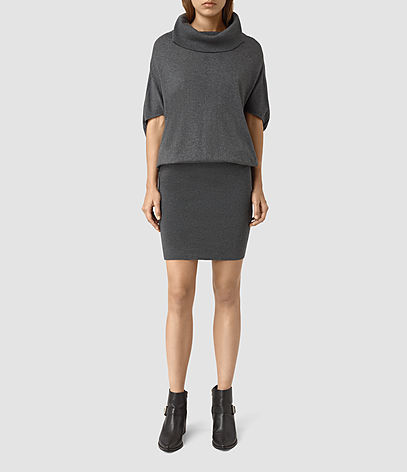 Elis Cowl Dress - neckline: cowl/draped neck; sleeve style: dolman/batwing; pattern: plain; style: blouson; predominant colour: charcoal; occasions: casual; length: just above the knee; fit: body skimming; fibres: cotton - 100%; sleeve length: half sleeve; texture group: knits/crochet; pattern type: fabric; season: s/s 2016