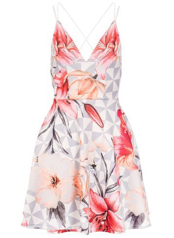 Womens **Quiz Flower Print Skater Dress Cream - neckline: low v-neck; sleeve style: spaghetti straps; predominant colour: ivory/cream; secondary colour: pink; occasions: evening; length: just above the knee; fit: fitted at waist & bust; style: fit & flare; fibres: polyester/polyamide - 100%; sleeve length: sleeveless; pattern type: fabric; pattern size: big & busy; pattern: florals; texture group: other - light to midweight; multicoloured: multicoloured; season: s/s 2016; wardrobe: event