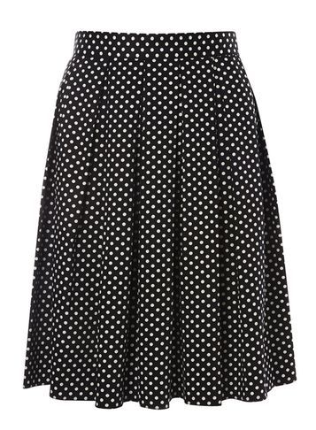 Womens Spot Cotton Full Skirt Black - fit: loose/voluminous; style: pleated; waist: high rise; pattern: polka dot; secondary colour: white; predominant colour: black; occasions: work, occasion; length: just above the knee; fibres: cotton - mix; hip detail: structured pleats at hip; pattern type: fabric; texture group: other - light to midweight; pattern size: big & busy (bottom); season: s/s 2016; wardrobe: highlight