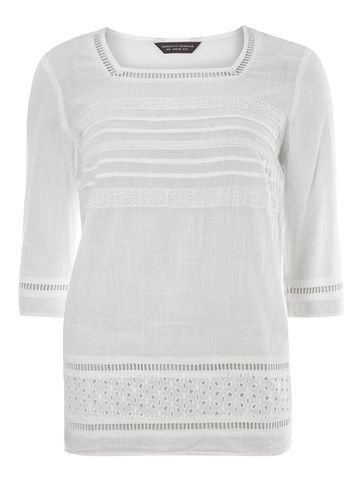Womens **Tall Broderie 3/4 Sleeve Top White - neckline: high square neck; pattern: plain; length: below the bottom; predominant colour: ivory/cream; occasions: casual, creative work; style: top; fibres: cotton - 100%; fit: loose; sleeve length: 3/4 length; sleeve style: standard; pattern type: fabric; texture group: broiderie anglais; season: s/s 2016