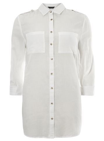 Womens **Tall Twill Tab Casual Shirt White - neckline: shirt collar/peter pan/zip with opening; pattern: plain; style: shirt; predominant colour: white; occasions: casual; length: standard; fibres: cotton - 100%; fit: body skimming; sleeve length: 3/4 length; sleeve style: standard; texture group: cotton feel fabrics; pattern type: fabric; season: s/s 2016; wardrobe: basic