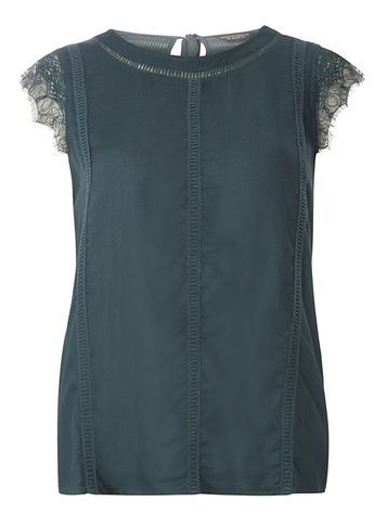 Womens Cedar Lace Cap Sleeve Top Green - sleeve style: capped; pattern: plain; predominant colour: dark green; occasions: casual; length: standard; style: top; fibres: viscose/rayon - 100%; fit: body skimming; neckline: crew; sleeve length: short sleeve; pattern type: fabric; texture group: other - light to midweight; embellishment: lace; season: s/s 2016; wardrobe: highlight