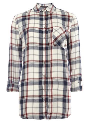 Womens **Tall Long Sleeve Check Shirt White - neckline: shirt collar/peter pan/zip with opening; pattern: checked/gingham; length: below the bottom; style: shirt; predominant colour: ivory/cream; secondary colour: navy; occasions: casual; fibres: viscose/rayon - 100%; fit: body skimming; sleeve length: 3/4 length; sleeve style: standard; pattern type: fabric; texture group: jersey - stretchy/drapey; pattern size: big & busy (top); multicoloured: multicoloured; season: s/s 2016; wardrobe: highlight