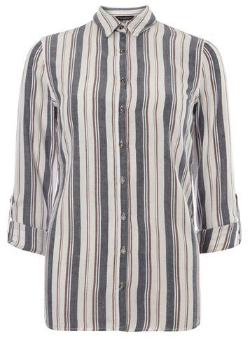 Womens Red And Navy Striped Shirt Red - neckline: shirt collar/peter pan/zip with opening; pattern: striped; style: shirt; predominant colour: mid grey; secondary colour: light grey; occasions: casual, creative work; length: standard; fibres: cotton - 100%; fit: body skimming; sleeve length: 3/4 length; sleeve style: standard; texture group: sheer fabrics/chiffon/organza etc.; pattern type: fabric; pattern size: big & busy (top); multicoloured: multicoloured; season: s/s 2016; wardrobe: highlight