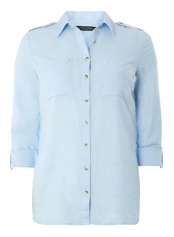 Womens Chambray Casual Shirt Blue - neckline: shirt collar/peter pan/zip with opening; pattern: plain; style: shirt; predominant colour: pale blue; occasions: work; length: standard; fibres: cotton - 100%; fit: straight cut; sleeve length: 3/4 length; sleeve style: standard; texture group: cotton feel fabrics; pattern type: fabric; season: s/s 2016; wardrobe: highlight