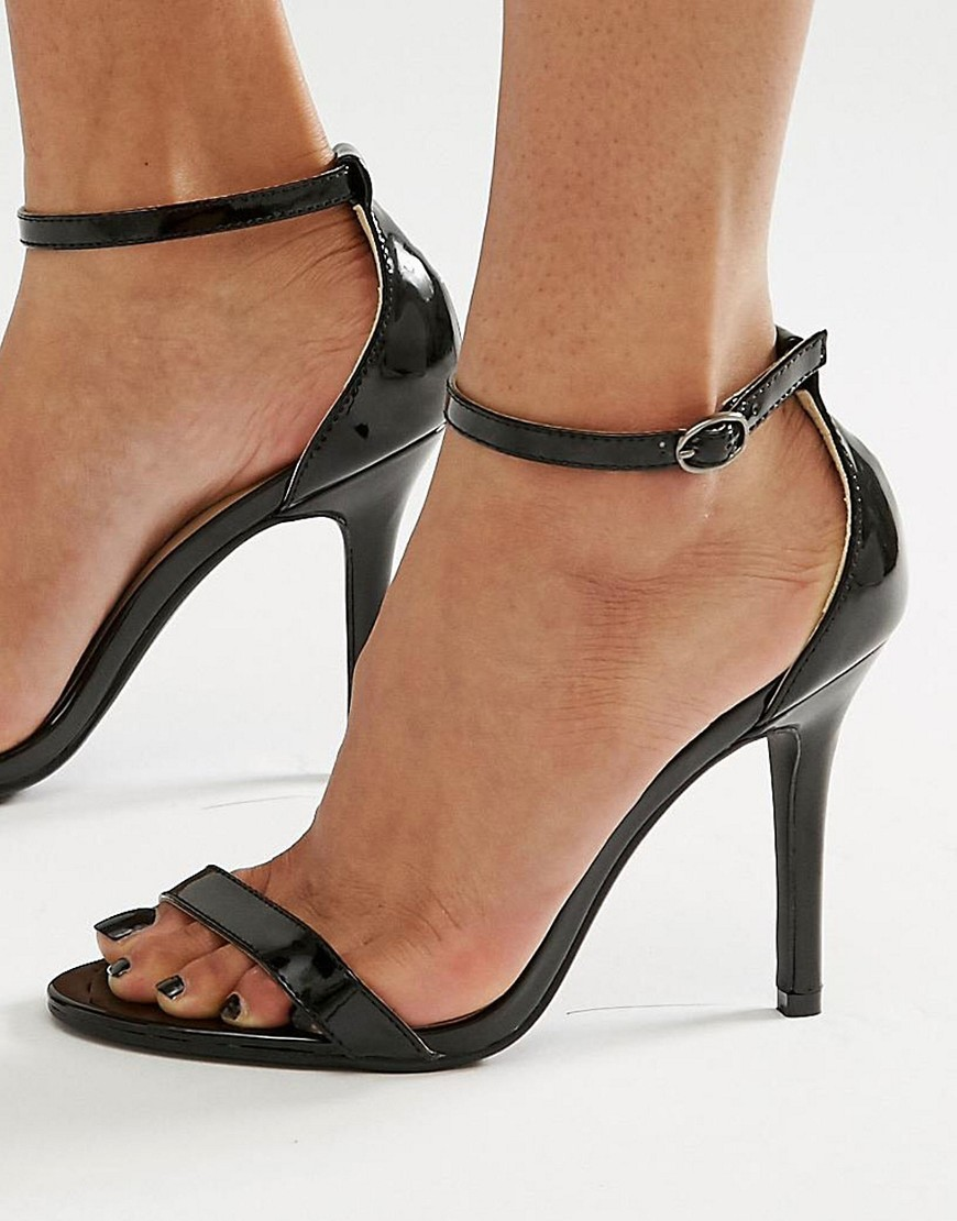 Black Patent Two Part Heeled Sandals Black Patent - predominant colour: black; occasions: evening, occasion; material: faux leather; heel height: high; ankle detail: ankle strap; heel: stiletto; toe: open toe/peeptoe; style: standard; finish: plain; pattern: plain; season: s/s 2016; wardrobe: event
