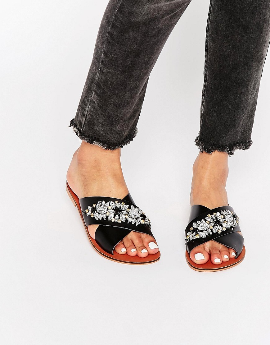 Femi Leather Embellished Slider Sandals Black Leather - predominant colour: black; occasions: casual, holiday; material: leather; heel height: flat; embellishment: crystals/glass; heel: block; toe: open toe/peeptoe; style: slides; finish: plain; pattern: plain; season: s/s 2016; wardrobe: highlight