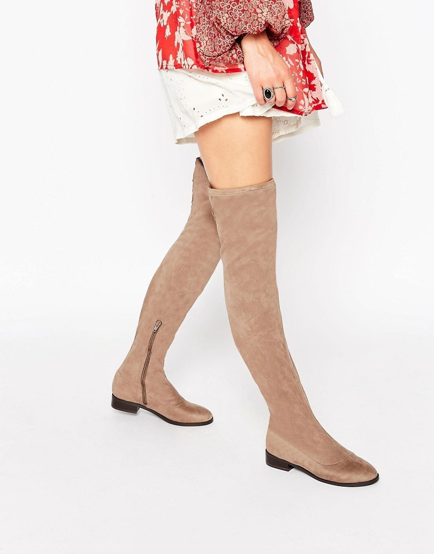 Keepers Flat Over The Knee Boots Stone - predominant colour: camel; occasions: casual, creative work; material: suede; heel height: flat; heel: block; toe: round toe; boot length: over the knee; style: standard; finish: plain; pattern: plain; season: s/s 2016; wardrobe: investment