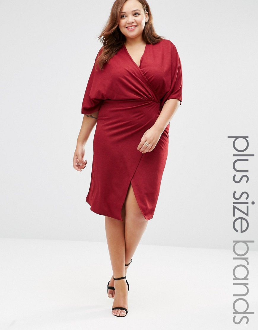 Plus Wrap Front Dress With Kimono Sleeves Berry - style: faux wrap/wrap; neckline: v-neck; pattern: plain; sleeve style: kimono; predominant colour: burgundy; occasions: evening, creative work; length: on the knee; fit: body skimming; fibres: polyester/polyamide - stretch; sleeve length: half sleeve; pattern type: fabric; texture group: jersey - stretchy/drapey; season: s/s 2016; wardrobe: highlight