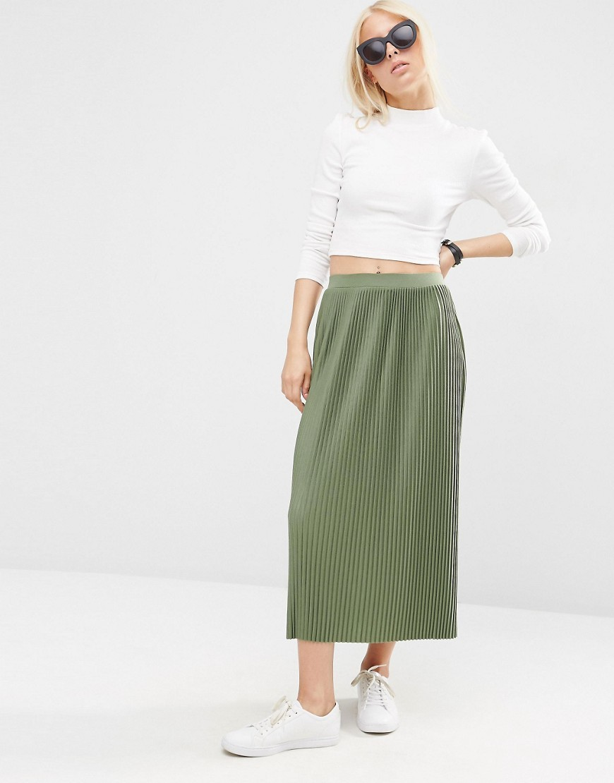 Pleated Midi Skirt In Jersey Khaki - length: calf length; pattern: plain; style: straight; fit: loose/voluminous; waist: high rise; predominant colour: khaki; occasions: casual, creative work; fibres: polyester/polyamide - 100%; pattern type: fabric; texture group: jersey - stretchy/drapey; season: s/s 2016; wardrobe: basic