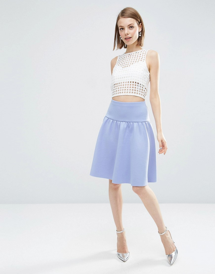 Prom Skirt With Pep Hem Blue - pattern: plain; style: full/prom skirt; fit: loose/voluminous; waist: high rise; predominant colour: pale blue; length: on the knee; fibres: polyester/polyamide - stretch; occasions: occasion; hip detail: subtle/flattering hip detail; pattern type: fabric; texture group: other - light to midweight; season: s/s 2016; wardrobe: event