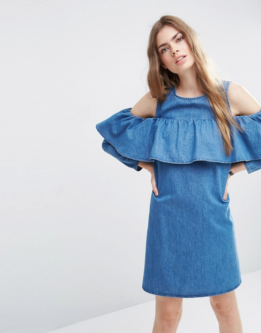 Denim Shift Dress With Cold Shoulder And Ruffle Detail Mid Blue - style: shift; fit: tailored/fitted; pattern: plain; predominant colour: denim; occasions: casual; length: just above the knee; fibres: viscose/rayon - 100%; neckline: crew; shoulder detail: cut out shoulder; sleeve length: 3/4 length; sleeve style: standard; texture group: denim; bust detail: bulky details at bust; pattern type: fabric; season: s/s 2016; wardrobe: highlight