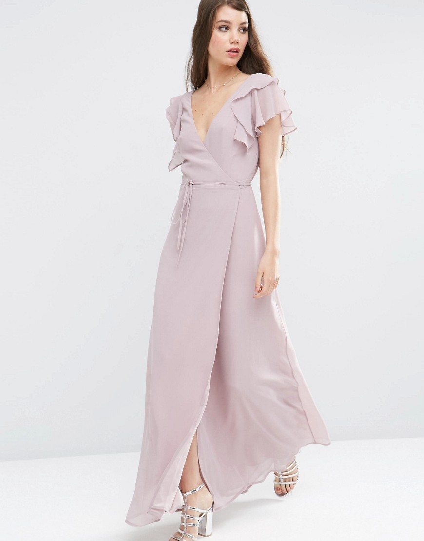 Frill Wrap Maxi Dress Dusty Lilac - style: faux wrap/wrap; neckline: v-neck; sleeve style: angel/waterfall; pattern: plain; length: ankle length; waist detail: belted waist/tie at waist/drawstring; predominant colour: lilac; occasions: evening; fit: body skimming; fibres: polyester/polyamide - 100%; shoulder detail: bulky shoulder detail; sleeve length: short sleeve; texture group: sheer fabrics/chiffon/organza etc.; pattern type: fabric; season: s/s 2016; wardrobe: event