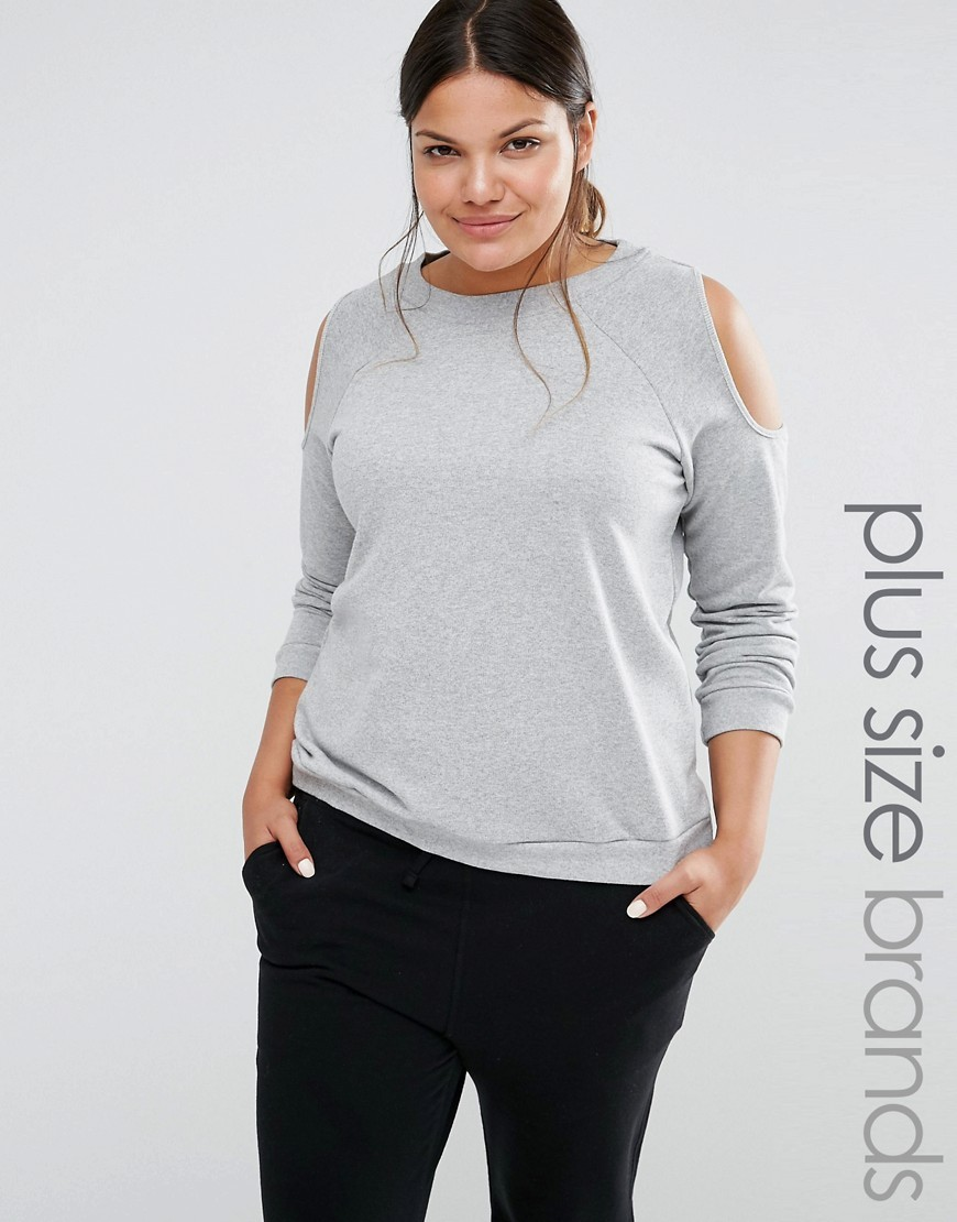 Cold Shoulder Sweatshirt Grey - pattern: plain; style: t-shirt; predominant colour: light grey; occasions: casual; length: standard; fibres: cotton - stretch; fit: loose; neckline: crew; shoulder detail: cut out shoulder; sleeve length: long sleeve; sleeve style: standard; pattern type: fabric; texture group: jersey - stretchy/drapey; season: s/s 2016; wardrobe: highlight