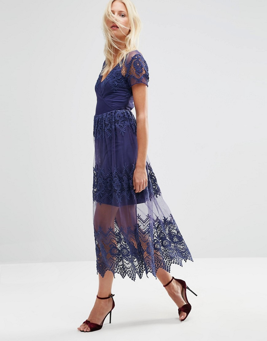 Embroidered Mesh And Lace Midi Dress Blue - neckline: low v-neck; style: maxi dress; length: ankle length; predominant colour: navy; occasions: evening, occasion; fit: fitted at waist & bust; fibres: polyester/polyamide - 100%; hip detail: soft pleats at hip/draping at hip/flared at hip; sleeve length: short sleeve; sleeve style: standard; texture group: lace; pattern type: fabric; pattern size: standard; pattern: patterned/print; embellishment: embroidered; shoulder detail: sheer at shoulder; season: s/s 2016; wardrobe: event