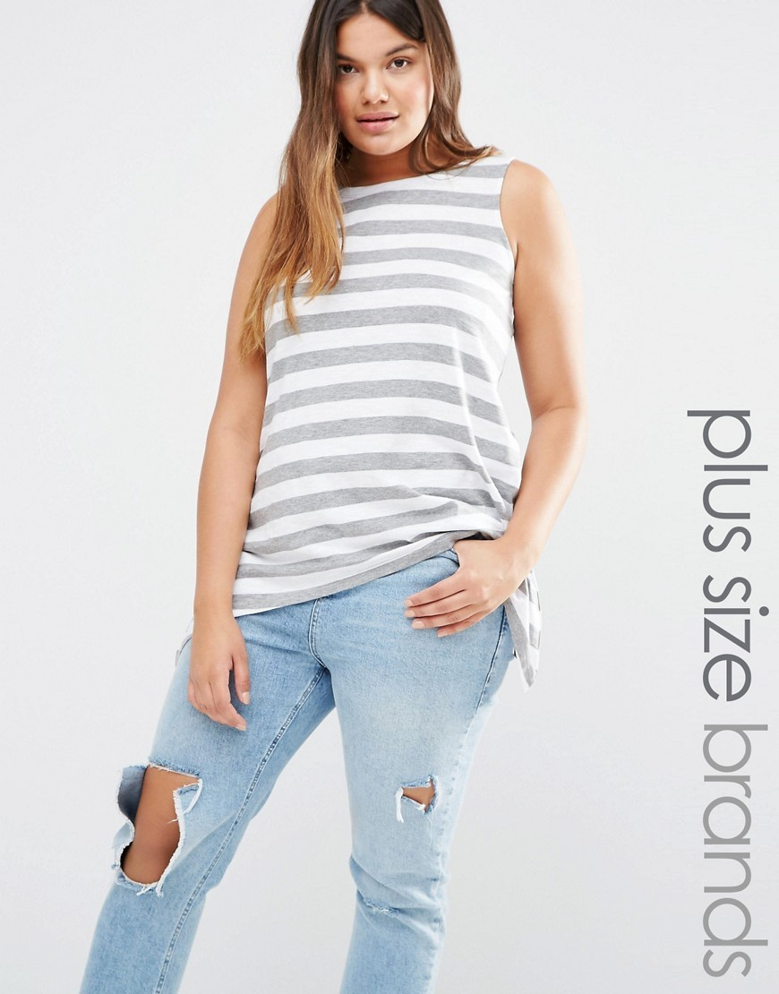 Sleeveless Asymetric Hem Stripe Jersey Top Multi - neckline: round neck; pattern: horizontal stripes; sleeve style: sleeveless; style: vest top; secondary colour: white; predominant colour: lime; occasions: casual; length: standard; fibres: cotton - stretch; fit: loose; sleeve length: sleeveless; pattern type: fabric; texture group: jersey - stretchy/drapey; season: s/s 2016; wardrobe: highlight