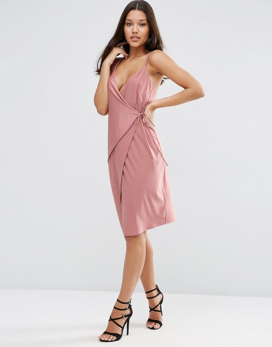 Double Strap Wrap Midi Dress Mink - style: jumper dress; neckline: low v-neck; pattern: plain; sleeve style: sleeveless; predominant colour: pink; occasions: evening; length: on the knee; fit: body skimming; fibres: polyester/polyamide - stretch; sleeve length: sleeveless; pattern type: fabric; texture group: jersey - stretchy/drapey; season: s/s 2016