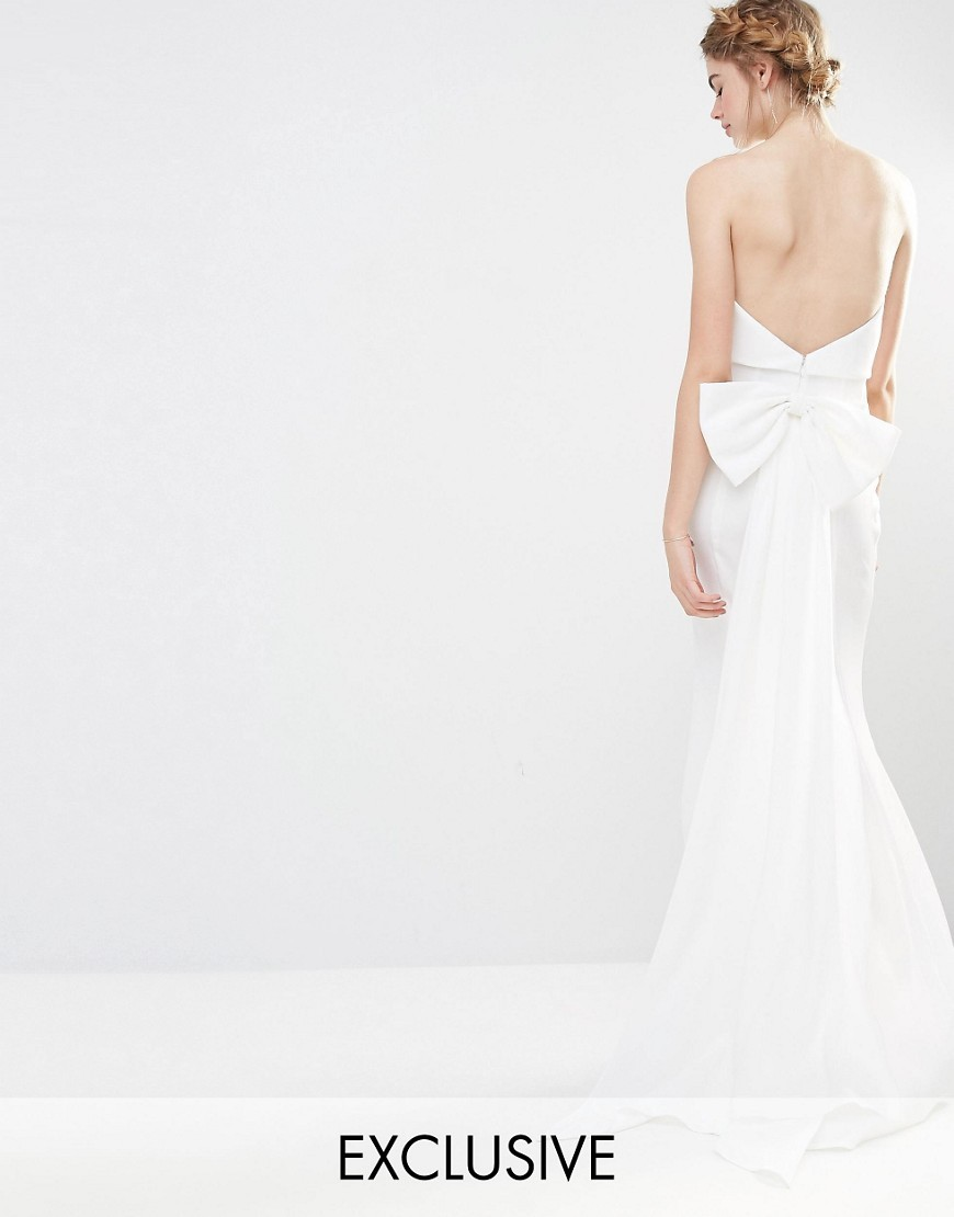 Wedding Overlay Maxi Dress With Fishtail And Oversized Bow Back Ivory - neckline: strapless (straight/sweetheart); pattern: plain; sleeve style: strapless; back detail: low cut/open back; predominant colour: white; occasions: evening; length: floor length; fit: body skimming; fibres: polyester/polyamide - mix; style: fishtail; sleeve length: sleeveless; texture group: crepes; pattern type: fabric; embellishment: bow; season: s/s 2016; wardrobe: event