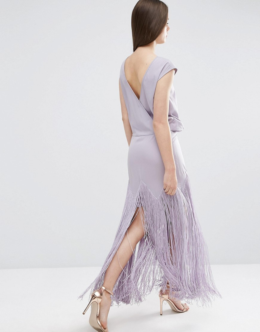 Fringe Maxi Dress With Deep V Back Lilac - sleeve style: capped; pattern: plain; style: maxi dress; length: ankle length; back detail: low cut/open back; predominant colour: lilac; occasions: evening; fit: body skimming; fibres: polyester/polyamide - 100%; neckline: crew; sleeve length: short sleeve; pattern type: fabric; texture group: jersey - stretchy/drapey; embellishment: fringing; season: s/s 2016