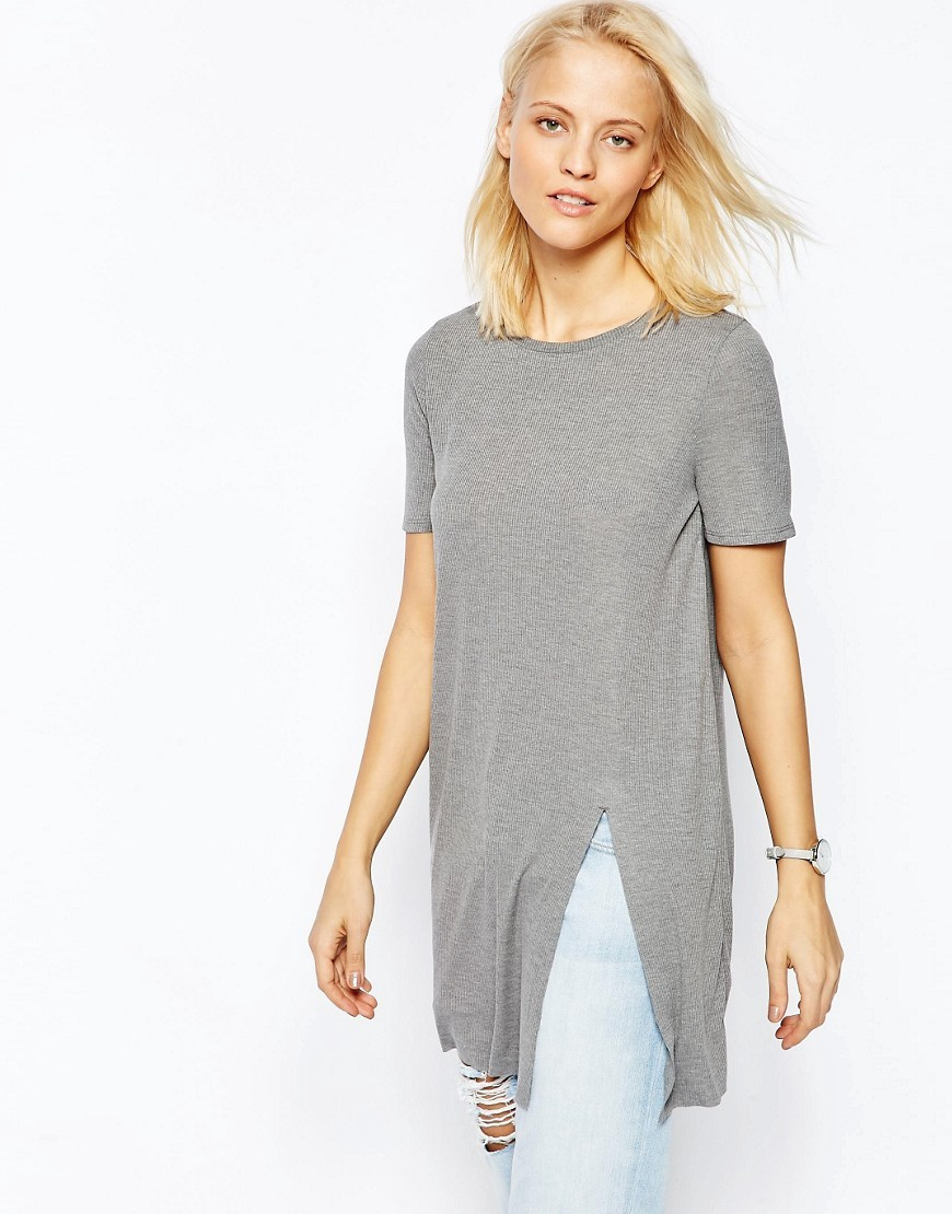 Longline Top With Front Split Grey Marl - neckline: round neck; pattern: plain; hip detail: draws attention to hips; predominant colour: light grey; occasions: casual; style: top; fibres: polyester/polyamide - mix; fit: loose; length: mid thigh; sleeve length: short sleeve; sleeve style: standard; texture group: knits/crochet; pattern type: fabric; season: s/s 2016; wardrobe: basic