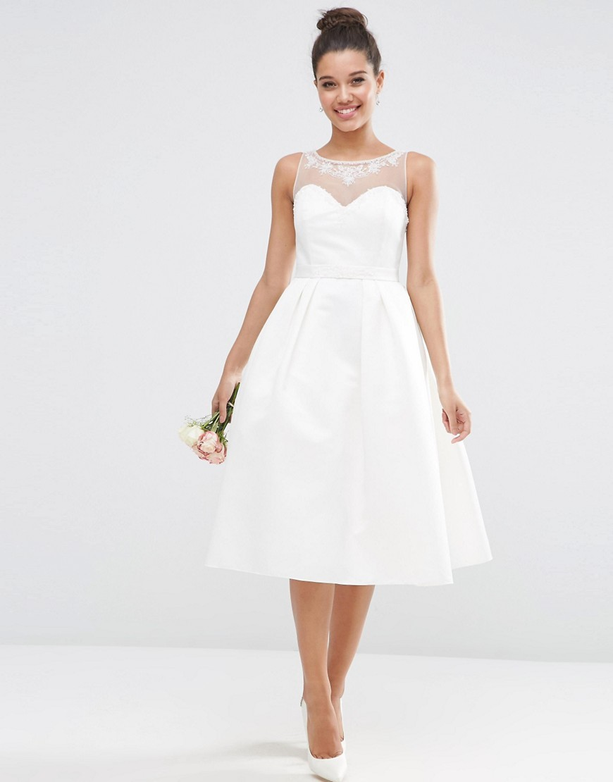 Bridal Crystal Sweetheart Midi Prom Dress White - length: below the knee; neckline: round neck; pattern: plain; sleeve style: sleeveless; style: prom dress; waist detail: fitted waist; predominant colour: white; occasions: evening, occasion; fit: fitted at waist & bust; fibres: polyester/polyamide - 100%; hip detail: structured pleats at hip; sleeve length: sleeveless; texture group: structured shiny - satin/tafetta/silk etc.; pattern type: fabric; embellishment: crystals/glass; shoulder detail: sheer at shoulder; season: s/s 2016