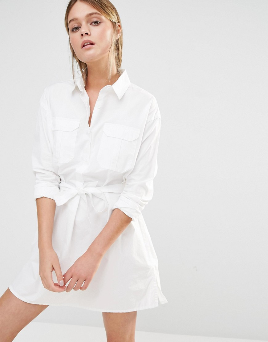 Amy Poplin Shirt Dress Winter White - style: shirt; length: mini; neckline: shirt collar/peter pan/zip with opening; fit: tailored/fitted; pattern: plain; waist detail: belted waist/tie at waist/drawstring; predominant colour: white; occasions: casual, creative work; fibres: cotton - 100%; sleeve length: 3/4 length; sleeve style: standard; texture group: cotton feel fabrics; pattern type: fabric; season: s/s 2016; wardrobe: basic
