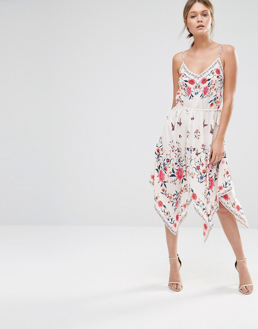 Printed Hanky Hem Dress Multi - length: calf length; neckline: low v-neck; sleeve style: spaghetti straps; predominant colour: white; secondary colour: hot pink; occasions: evening; fit: body skimming; style: asymmetric (hem); fibres: polyester/polyamide - 100%; sleeve length: sleeveless; pattern type: fabric; pattern: florals; texture group: other - light to midweight; multicoloured: multicoloured; season: s/s 2016; wardrobe: event