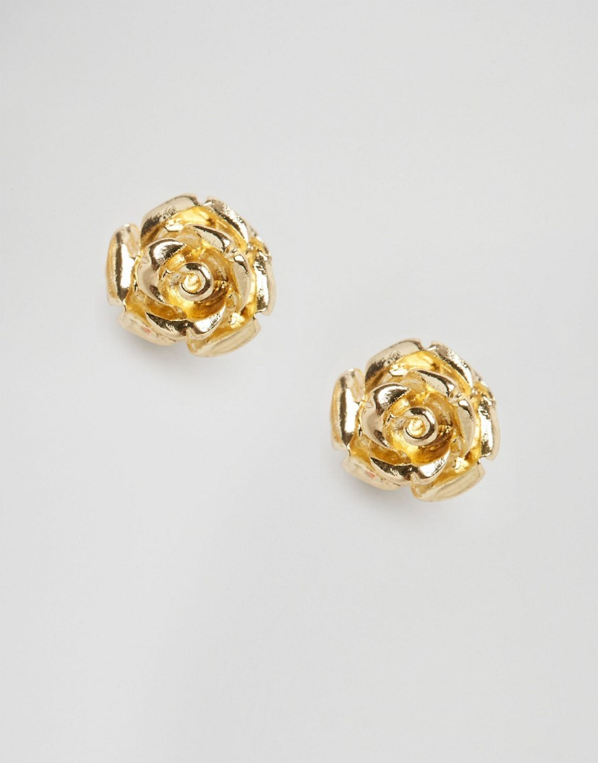 Mini Rose Stud Earrings Gold - predominant colour: gold; occasions: evening, occasion; style: stud; length: short; size: standard; material: chain/metal; fastening: pierced; finish: metallic; embellishment: studs; season: s/s 2016; wardrobe: event