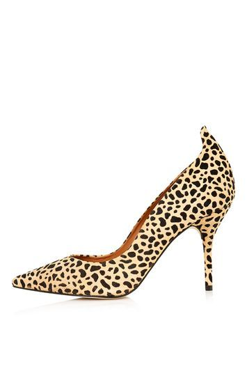 Giddy Curve Tab Court Shoes - predominant colour: stone; secondary colour: black; occasions: evening, work, occasion; material: suede; heel height: high; heel: stiletto; toe: pointed toe; style: courts; finish: plain; pattern: animal print; trends: fashion girl, glossy girl, pretty girl, opulent prints; season: s/s 2016