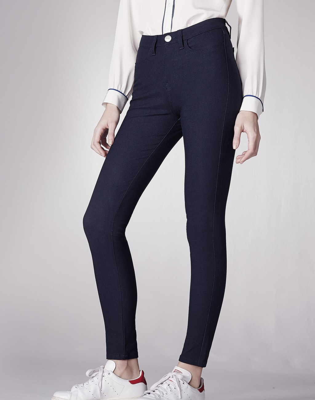 High Rise Stretch Gabardine Skinny Trouser Dark Navy - style: skinny leg; length: standard; pattern: plain; waist: high rise; predominant colour: navy; occasions: casual; fibres: cotton - stretch; texture group: denim; pattern type: fabric; season: a/w 2015; wardrobe: basic