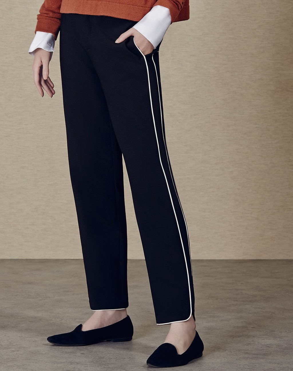 Piped Slim Trouser Black/White - length: standard; pattern: plain; waist: mid/regular rise; predominant colour: black; fibres: polyester/polyamide - 100%; texture group: crepes; fit: slim leg; pattern type: fabric; style: standard; occasions: creative work; season: a/w 2015; wardrobe: basic