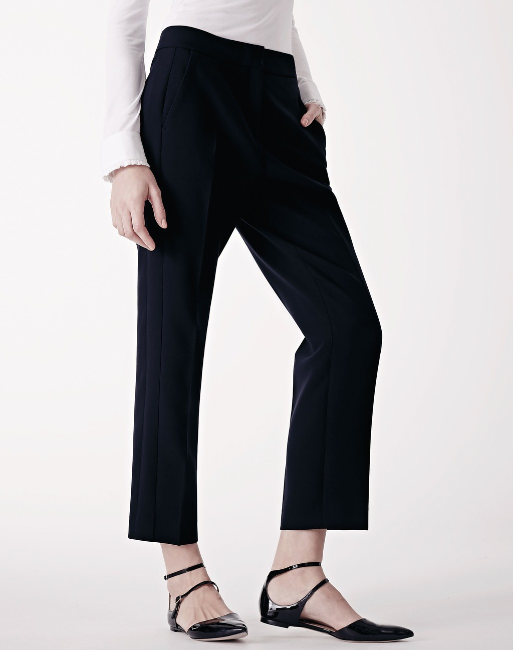 Slim Crop Trouser Navy - pattern: plain; hip detail: front pockets at hip; waist: high rise; predominant colour: navy; length: calf length; fibres: cotton - stretch; texture group: cotton feel fabrics; fit: slim leg; pattern type: fabric; style: standard; occasions: creative work; season: s/s 2016; wardrobe: basic